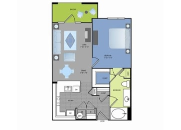 Floor plan at The Encore Apartments, Plano, 75024