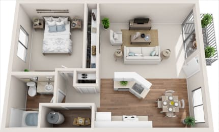Cottage 1B/1B 3D Floor Plan