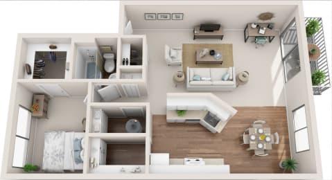 Meadowbrook 1B/1B 3D Floor Plan