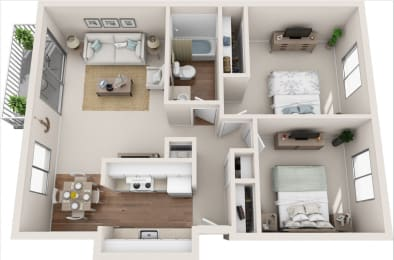 Cottage 2B/1B 3D Floor Plan