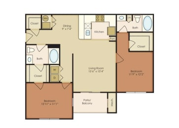 2 Bed 2 Bath Floor Plan at The Residence at North Penn, Oklahoma