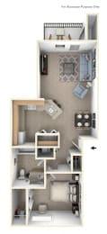 One Bedroom One Bath Floorplan at Gull Prairie/Gull Run Apartments and Townhomes, Kalamazoo, MI, 49048