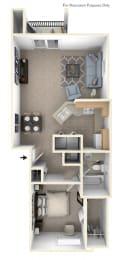 One Bedroom End Floorplan at Gull Prairie/Gull Run Apartments and Townhomes, Kalamazoo, MI