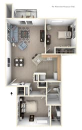 Two Bedroom Traditional - GR Floorplan at Gull Prairie/Gull Run Apartments and Townhomes, Kalamazoo, Michigan