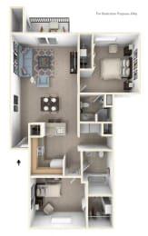 Two Bedroom Two Bath GR Floorplan at Gull Prairie/Gull Run Apartments and Townhomes, Kalamazoo