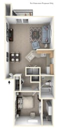 One Bedroom End GR Floorplan at Gull Prairie/Gull Run Apartments and Townhomes, Kalamazoo, 49048