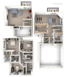 Three-bedroom Two-Story Floorplan at Gull Prairie/Gull Run Apartments and Townhomes, Kalamazoo, MI, 49048