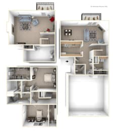Two Bedroom Two-Story Floorplan at Gull Prairie/Gull Run Apartments and Townhomes, Michigan, 49048
