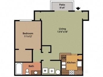 One Bedroom One Bathroom Floor Plan Maple