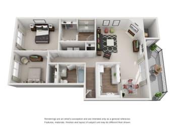 Floor plan at Canyon Park, Beaverton, OR