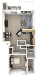 One Bedroom End Floor Plan at Lynbrook Apartment Homes and Townhomes, Elkhorn