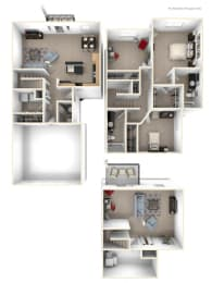 Three Bedroom Two-story Floor Plan at Lynbrook Apartment Homes and Townhomes, Elkhorn