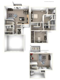 Two Bedroom Two-story Floor Plan at Lynbrook Apartment Homes and Townhomes, Elkhorn, 68022