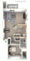 One Bedroom One Bath End Floorplan at Foxwood and The Hermitage, Portage, 49024