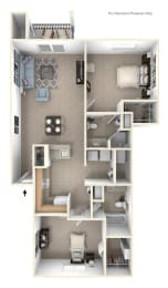 Two Bedroom Two Bath Floorplan at Foxwood and The Hermitage, Portage, MI