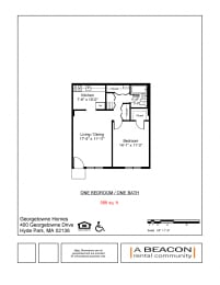 One Bedroom apartment at Georgetowne Homes in Hyde Park, MA