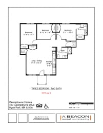 Three Bedroom apartment at Georgetowne Homes in Hyde Park, MA