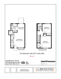 Two Bedroom apartment at Georgetowne Homes in Hyde Park, MA