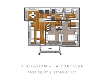 Floor Plan at La Contessa Luxury Apartments, Laredo