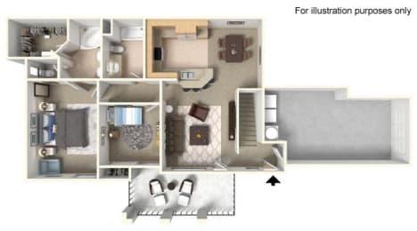 Plan 2B FloorPlan 3D at TERRAZA DEL SOL, Rancho Cucamonga, 91730
