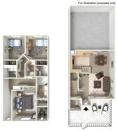 Plan 3T FloorPlan 3D at TERRAZA DEL SOL, Rancho Cucamonga, California