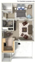 1x1 A FloorPlan at THE STREAMS, Fullerton, 92831
