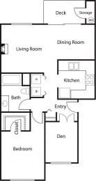 1x1 Den 2 – 1 Bedroom 1 Bath Floor Plan Layout – 860 Square Feet