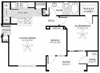 Floor Plan A2 - 796 SQUARE FEET