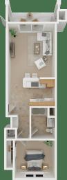 The Cortese 1X1 Floor Plan   Torcello