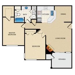 2 Bed 1 Bath Floor Plan at Thorncroft Farms Apartments, Hillsboro, Oregon
