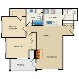 2 Bed 1 Bath 2 Bedroom B Floor Plan at Thorncroft Farms Apartments, Hillsboro, Oregon, 97124