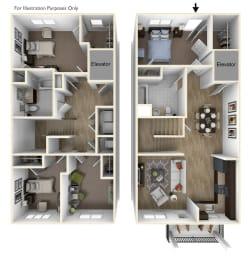 Floor Plan  Towns at Woodfield 4 Bedroom, 2 Bathroom 3D Floor Plan