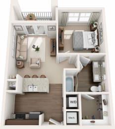 Luxury 1 bedroom apartment Floor plan
