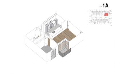 Floor Plan 1 Bed + 1 Bath