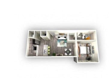 Aurora 1.0 Floorplan 1 Bedroom 1 Bath 605 Total Sq Ft at EOS Apartments, Orlando, FL 32826