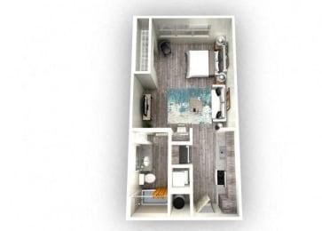 Luna 1.0 Floorplan 1 Bedroom 1 Bath 488 Total Sq Ft at EOS Apartments, Orlando, FL 32826