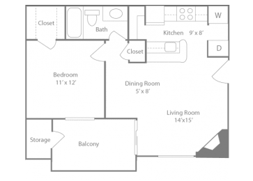 Belmont Floorplan 1 Bedroom 1 Bath 648 Total Sq Ft at The Edge of Germantown Apartments Home, Memphis, TN 38120