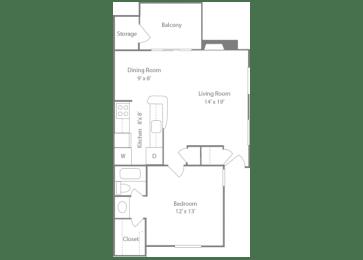 Brighton Floorplan 1 Bedroom 1 Bath 728 Total Sq Ft at The Edge of Germantown Apartments Home, Memphis, TN 38120