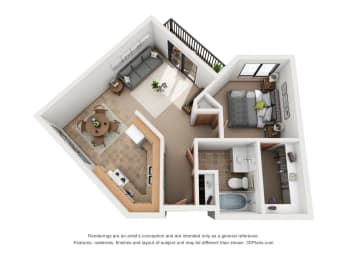 694 sq.ft. One Bed One Bath