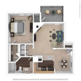 The Bradford Floor Plan at Beacon Ridge Apartments, Greenville, 29615