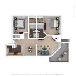 The Magnolia Floor Plan at Beacon Ridge Apartments, Greenville