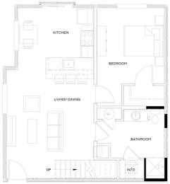 1 Bed/1 Bath Loft A1 Floor Plan at The Royal Athena, Bala Cynwyd, Pennsylvania