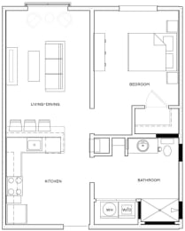 1 Bed/1 Bath A1 Floor Plan at The Royal Athena, Bala Cynwyd, PA, 19004