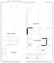 1 Bed/1 Bath Loft A3 Floor Plan at The Royal Athena, Bala Cynwyd, Pennsylvania