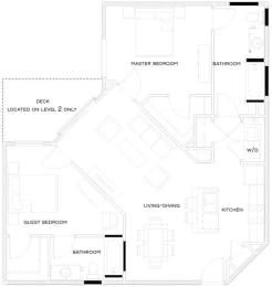 2 Bed/2 Bath Floor Plan at The Royal Athena, Bala Cynwyd, PA, 19004