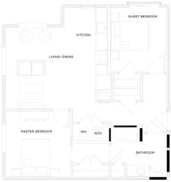 2 Bed/1 Bath B3 Floor Plan at The Royal Athena, Bala Cynwyd