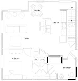 1 Bed/1 Bath Loft B3 Floor Plan at The Royal Athena, Bala Cynwyd, PA, 19004