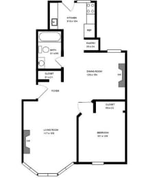 Floor Plan 2300 CLAR -1 BED