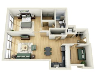 Floor Plan ONE BEDROOM ONE AND 1/2 BATH WITH DEN