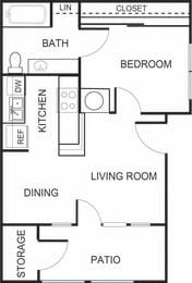 Floor Plan  1 Bedroom 1 Bathroom A1 Floorplan at Forest Creek Apartments in Houston, TX